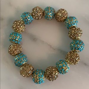 Jewelry - Gold plated and turquoise colored ball bracelet